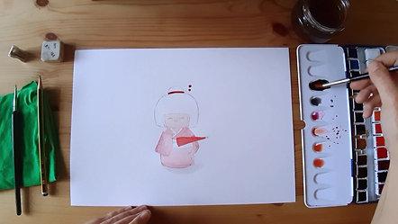 Microtaller ilustración Geisha Kawaii