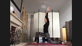 flowing through sun salutations with twists