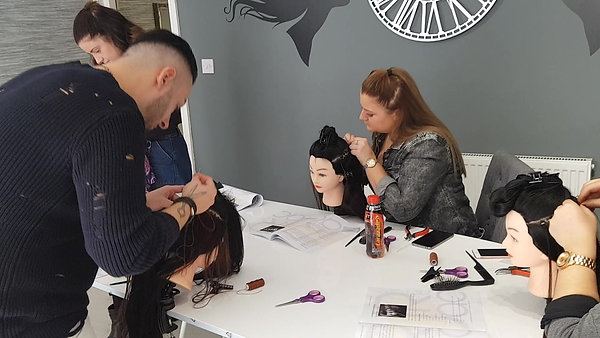 Hair extension training session