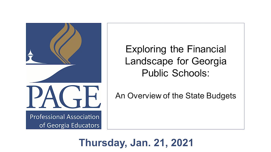 PAGE 2021 State Budget Webinar