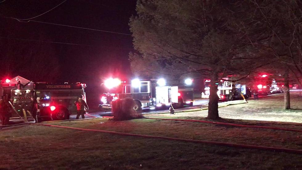 staging for Edenville detached garage fire