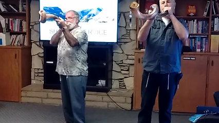 Bernard and Marvin playing Shofars