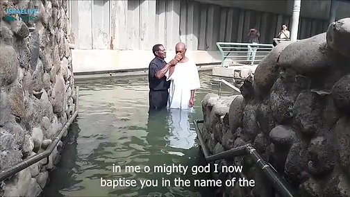 Baptism ceremony in Yardenit site