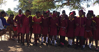 Zimbabwe Girls Dancing Celebrating Computer Handover