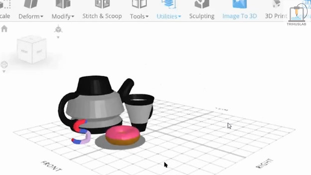 5. Tea set ready to be 3D printed