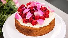 Vanilla Butter Cake with White Chocolate Ganache and Raspberries