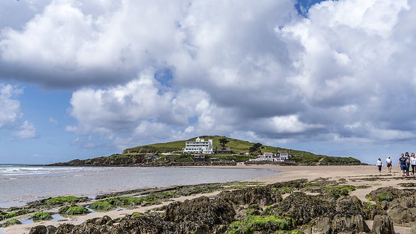 Summer clouds flowing over Burgh Island