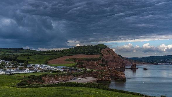 Stormy skies over Ladram Bay, Devon