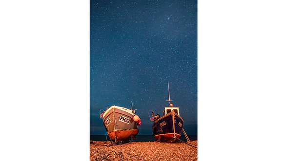 Stars over the fishing boats of Beer, Devon