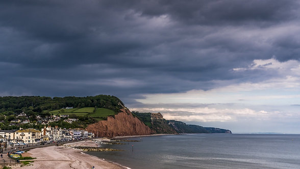 Stormy skies over Sidmouth, Devon