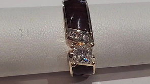 Wood Inlay Diamond Ring