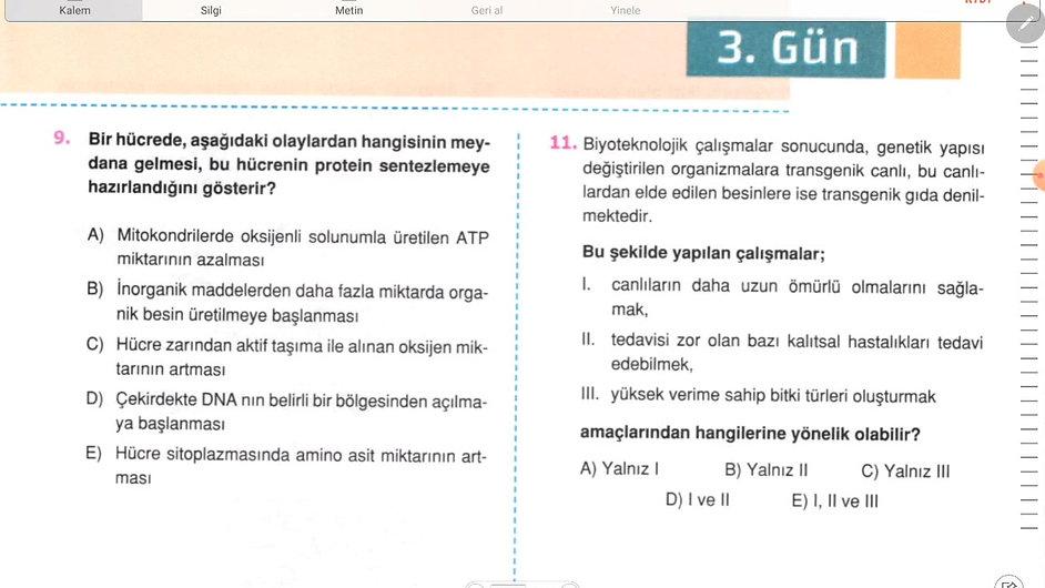 Biyoloji Ayt 3. Gün (1-17)