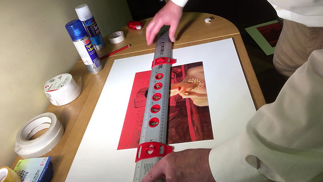 1. Positioning an Image for mounting (using specialist ruler)