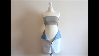 REVERSIBLE SKIRT - WHITE AND BLUE CHECK