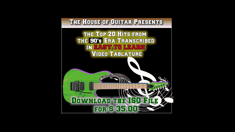 Top Guitar Hits for 1990's in Video Tablature