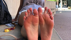 Madison's 19yo White Toes Out of Her Flip Flops