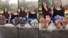 Shy 19yo Kristin & Skeptical Sarah Show Their Bare Feet