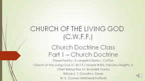 CHURCH DOCTRINE CLASS - PART 1