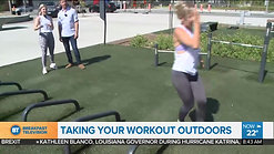 Break a sweat in the sunshine by taking your indoor workout outside. Trainer