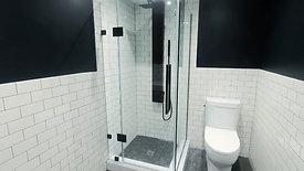 Corner shower with black matte hardware