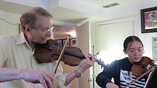 Preparing to play non-harmonic tone double-stops