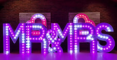 M R M R SKMS Hire's 5ft Tall RGB Colour Changing MR & MRS light up letters