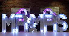 KMS Hire's 5ft Tall RGB Colour Changing MR & MRS light up letters