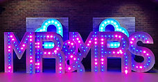 M R MRSKMS Hire's 5ft Tall RGB Colour Changing MR & MRS light up letters