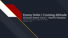 Emmy Dolin and Cruising Altitude - AO Junior Hunter 3'6_3'3 - Reserve Champion - Feb 2021