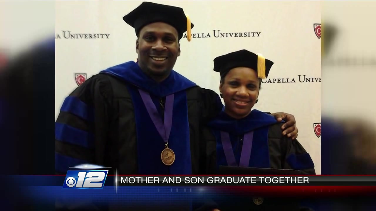 Mother and Son earn Ph.D. degrees on the same day!  Drs. Vickie and Maurice McBride