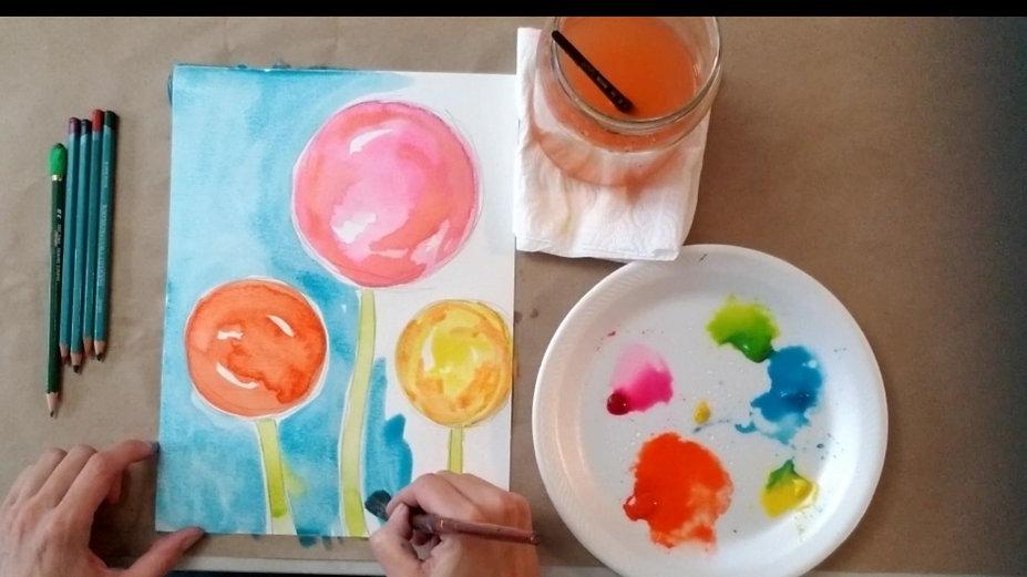Grandma's Garden Flower Watercolor Class
