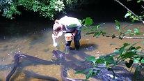 Hand feeding eels at Pukaha