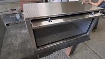 Polished stainless sliding lid truck side locker
