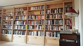 Ash double hidden door bookcase