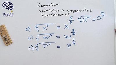 Raíz a exponente fraccionario