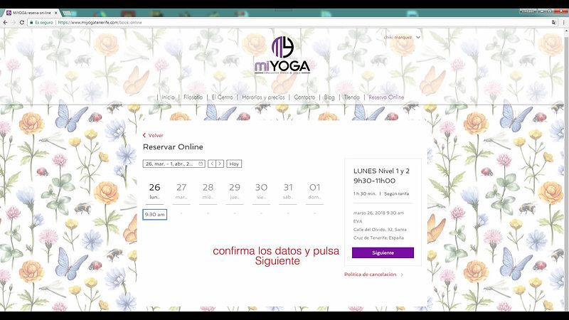 clases de yoga, tutorial reservas