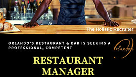 rlando's Restaurant Manager Vacancy