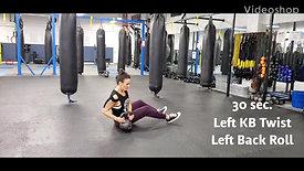 Slow KB Twist, Back Roll, with KB Swing Catch Squat