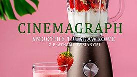 Cinemagraph - smoothie truskawkowe z płatkami owsianymi