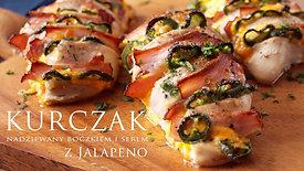 Wideo przepis - kurczak nadziewany boczkiem i papryczkami jalapeno - film kulinarny.