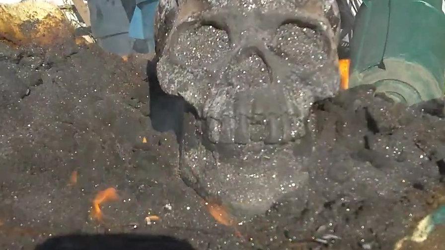 Flaming Covid Skull