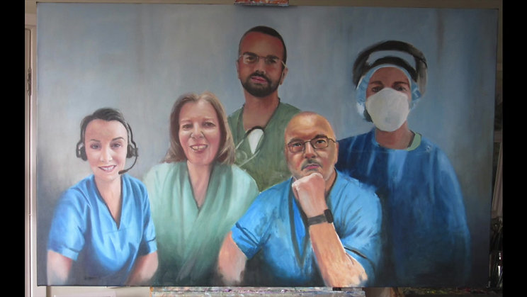 The painting of the portraits of NHS Staff