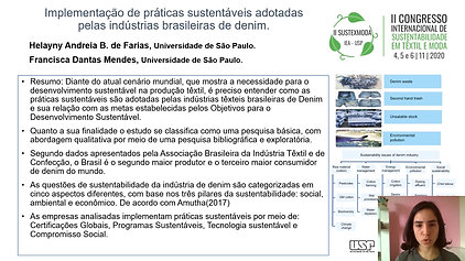 GT1 B636.128 - IMPLEMENTAÇÃO DE PRÁTICAS SUSTENTÁVEIS ADOTADAS PELAS INDÚSTRIAS BRASILEIRAS DE DENIM.