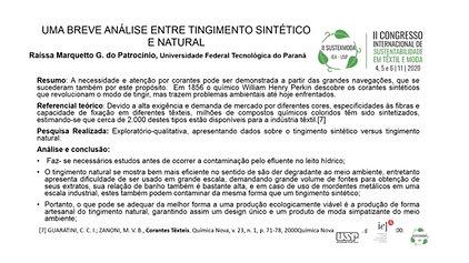 GT1 457.104 - UMA BREVE ANÁLISE ENTRE TINGIMENTO SINTÉTICO E NATURAL