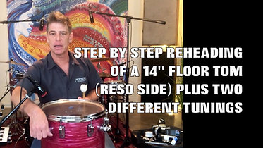 REHEAD AND TUNE A 14 in FLOOR TOM TO 2 TUNINGS