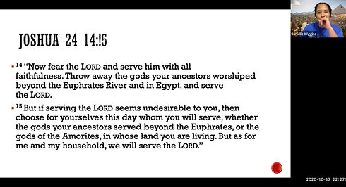 Bible Study Lesson, 20-20-2020_Teacher: Mrs. Wiggins_Topic:Choices,Choosing to Serve