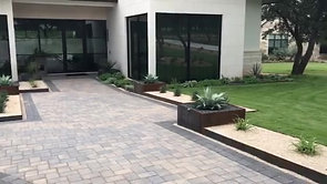 Spicewood TX Triant Residence Custom Planters, Dry River Creek Bed, Fountain, Drip Irrigation