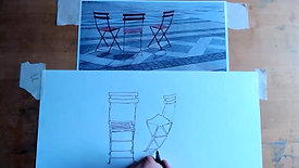 Drawing Cafe Three Red Chairs 31 5  21