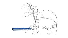Férfi hajvágó fogásredszer vetítés -  A4