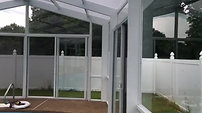Glass Pool Enclosure with Polycarbonate Roof